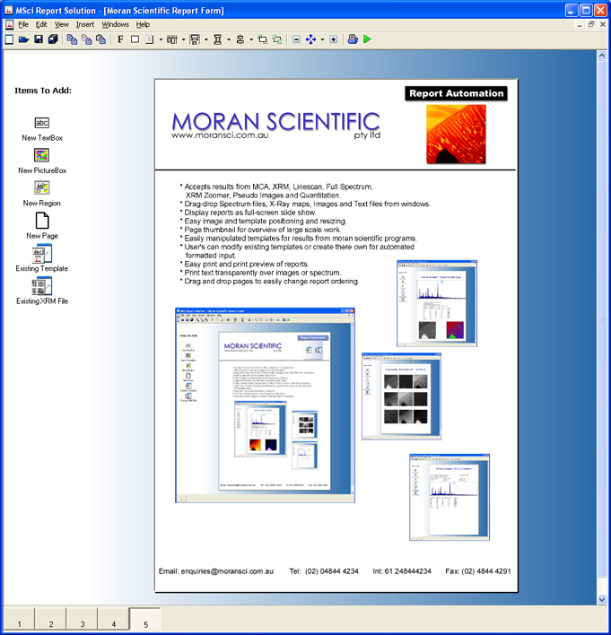 Moran Scientific  Report Generator